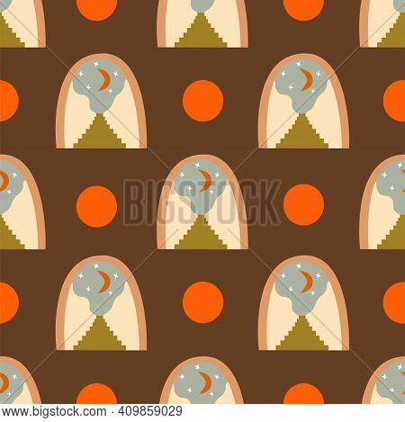 Abstract Seamless Pattern Arch With Crescent And Stars, Stairs With Steps Brown Background. Stairway