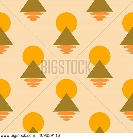 Abstract Seamless Pattern Triangle, Moon And Ovals Beige Background. Modern Trendy Print. Colorful B
