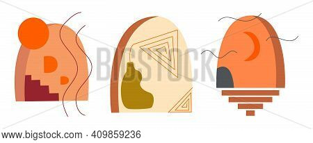 Set Of Abstract Art Arch And Moon, Stairs With Steps Painting, Crescent, Vase And Line Background. M