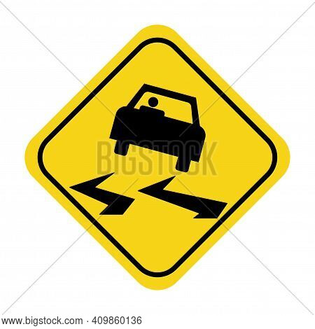 Slippery When Wet Sign. Slippery Road Sign. Road Flooding Sign. Slippery Road Sign On Yellow Traffic