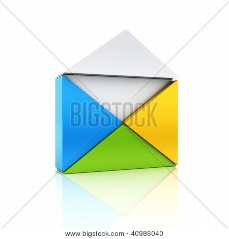 Abstract Color Metallic Symbol With Open Envelope From Triangles.