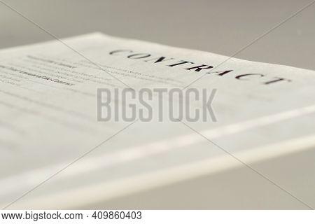 Business Paper Documents. Contract. Closeup. Selective Focus