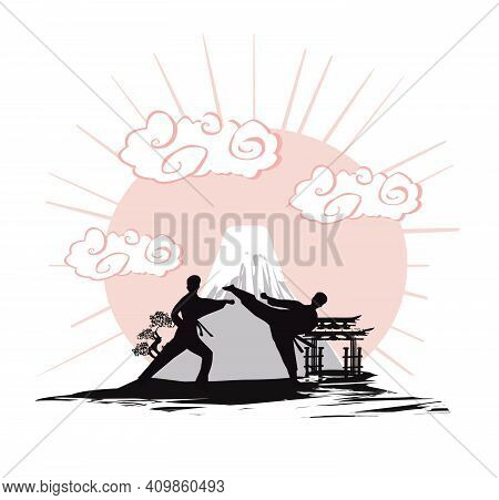 Karate Occupations  Mans Silhouette - Abstraction Card , Vector Illustration