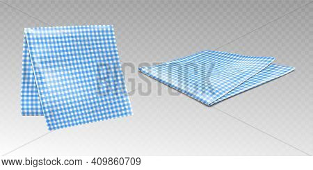 Kitchen Towel Or Tablecloth With Chequered Blue And White Print. Hanging And Laying Picnic Napkin, G