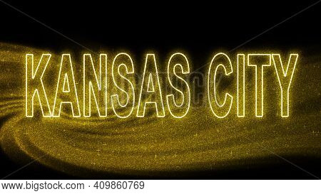 Kansas City Gold Glitter Lettering, Kansas City Tourism And Travel, Creative Typography Text Banner,