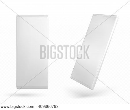 Chocolate Package Mockup, Carton Blank Pack For Choco Bar Top And Angle View. Rectangular Paper Box