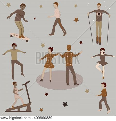 Figures Of Athletes And Dancers In Brown Shades.  Separate Images In The Background.  Vector.
