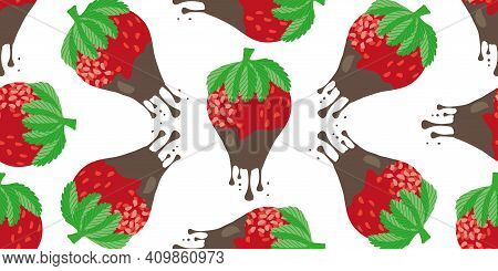 Chocolate Dipped Strawberry Seamless Border. Banner With Painterly Red Berries Dripping With Melting