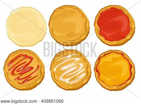 Dough Pizza Set Making About Collecting Pizza. Raw Cooked Dough With Toppings Of Cheese Tomato Sauce