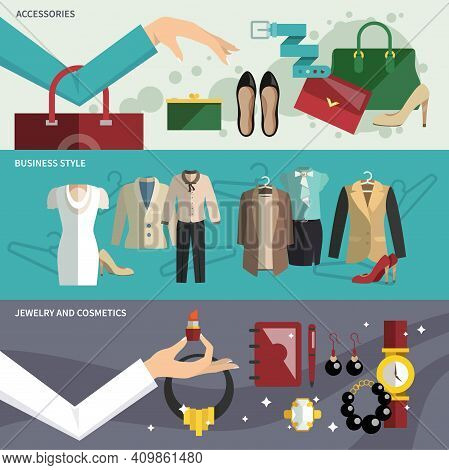 Businesswoman Clothes Banner Set With Accessories Business Style Jewelry And Cosmetics Isolated Vect