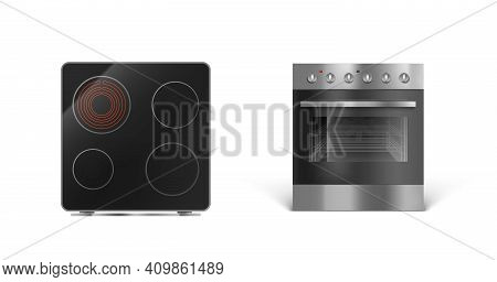 Induction Cooking Panel With Oven, Electric Stove Front And Top View. Vector Realistic Set Of Kitche
