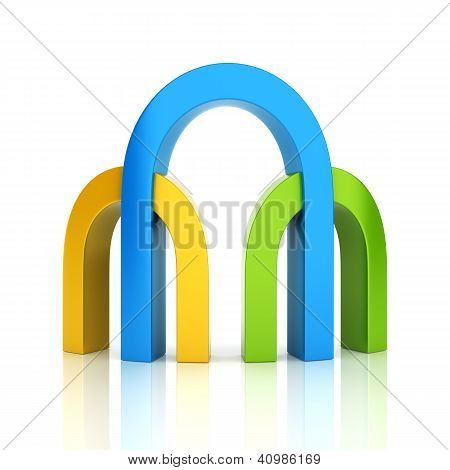 Abstract Color Business Symbol With 3 Archs