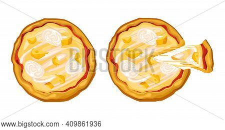 Cheese Pizza Whole And With A Cut Piece, Cheese Stretches Appetizingly, With Pieces Of Mozzarella An