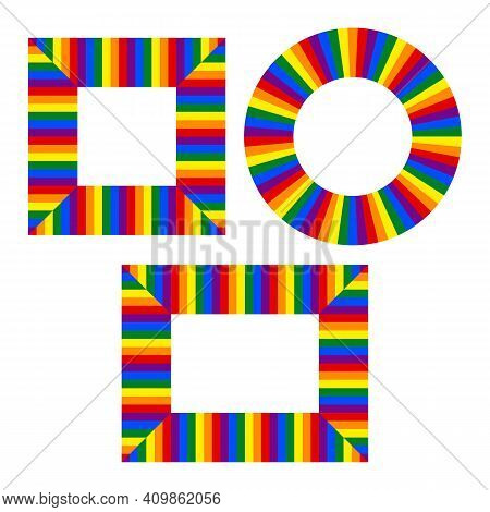 Flag Lgbt Icons, Round And Squared Frames. Template Border, Vector Illustration. Love Wins. Lgbt Log