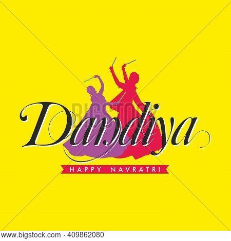 Beautiful Calligraphy Of Dandiya - Playing During Durga Puja  - An Indian Festival   Illustration