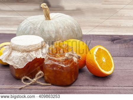 Ingredients And Ready-made Orange Jam In A Jar. Jam Made From Oranges And Pumpkins. Delicious Transp