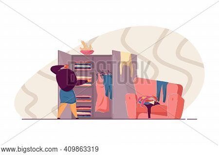 Puzzled Girl Examining Her Closet, Choosing Outfit, Making Pile Of Dresses Near Wardrobe. Vector Ill