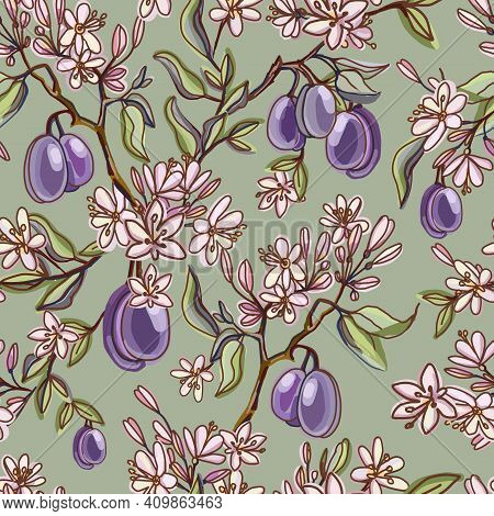 Seamless Pattern With Ripe Plums, Green Branches, Leaves And Spring Flowering. Herbarium On Khaki Ba