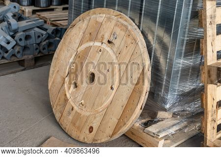 Detail Of A Large Wooden Reel. Cable Reel Wheel