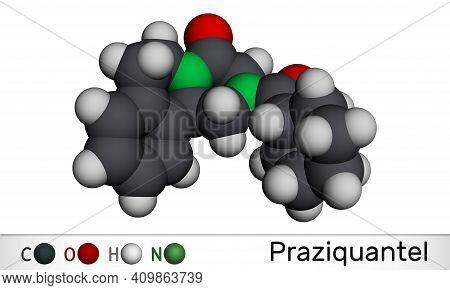 Praziquantel, Pzq, Molecule. It Is Anthelmintic Drug For Treatment Cysticercosis, Schistosome, Cesto