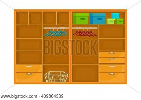Closet Isolated On White Background. Empty Open Wardrobe With Hanger, Shelves And Drawers. Furniture