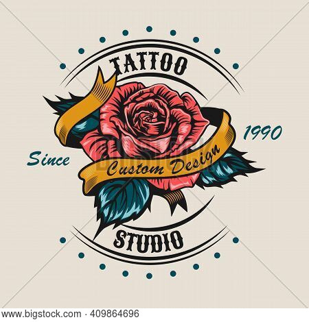 Creative Sticker With Pretty Rose For Tattoo. Colorful Design Element With Red Flower Surrounded Rib