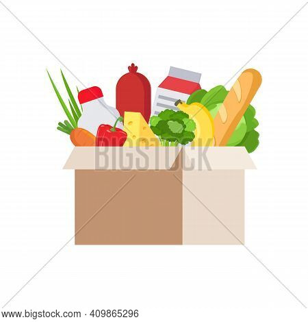 Fresh Food In Cardboard Box, Isolated, White Background. Vector Flat Illustration Of Cardboard Box W