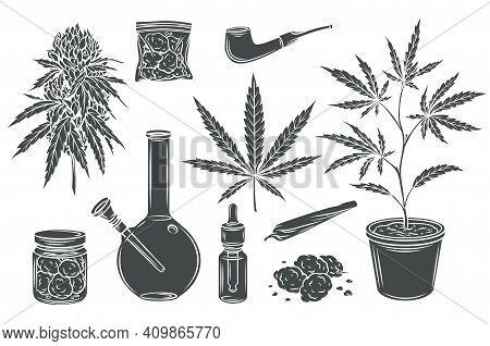 Marijuana Monochrome Glyph Isolated Vector Icon Set, Hemp Leaves And Seeds, Cannabis Bud. Smoking Ca