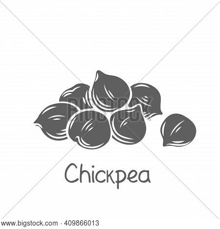 Heap Of Chickpeas Glyph Vector Illustration. Monochrome Isolated Handful Of Chickpea Seed.
