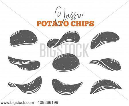 Potato Chips Set Glyph Vector Illustration. Monochrome Isolated Crispy Snack, Potato In The Form Of