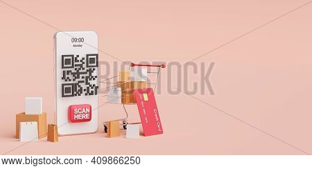 Payment On Mobile Concept, Qr Code Scanning On Mobile Making Payment And Verification, 3d Illustrati