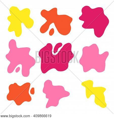 Set Of Splash Icons Isolated On White Background. Uneven Shapes. Cute Smears, Creative Blots, Spatte