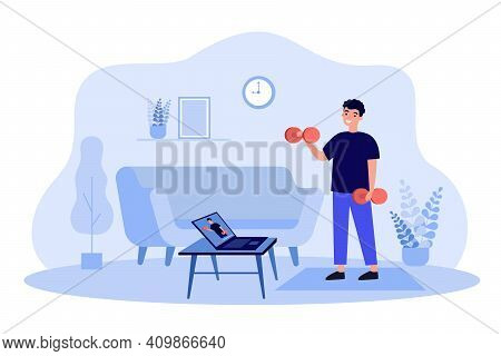 Happy Man Watching Online Sport Webinar And Doing Exercises At Home, Lifting Weight At Laptop, Keepi