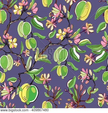 Floral Vector Seamless Pattern. Botanical Wallpaper. Plants, Lemon, Flowers Backdrop. Drawn Nature V