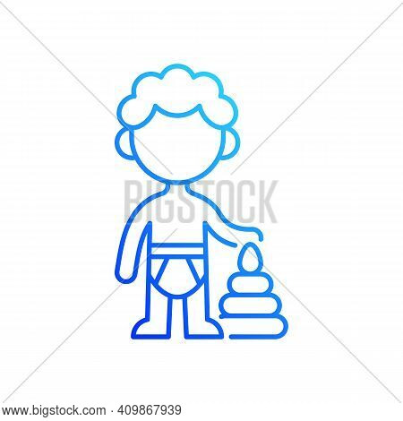 Male Toddler Gradient Linear Vector Icon. 1-2 Years Old. Child Development. Early Childhood. Physica