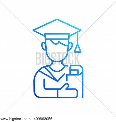 Male Student Gradient Linear Vector Icon. Early Adulthood. Establishing Identity. Pursuing Education