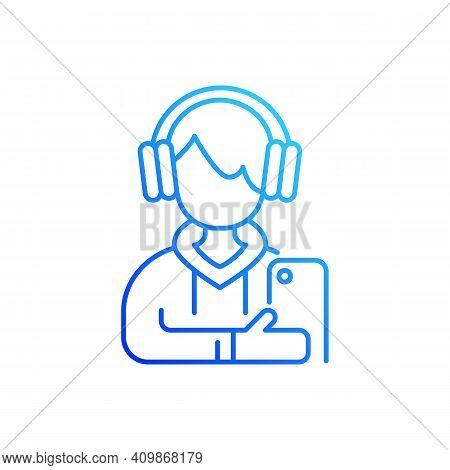 Teenage Boy Gradient Linear Vector Icon. Male Teenager. Adolescence. Emotional Development. School S