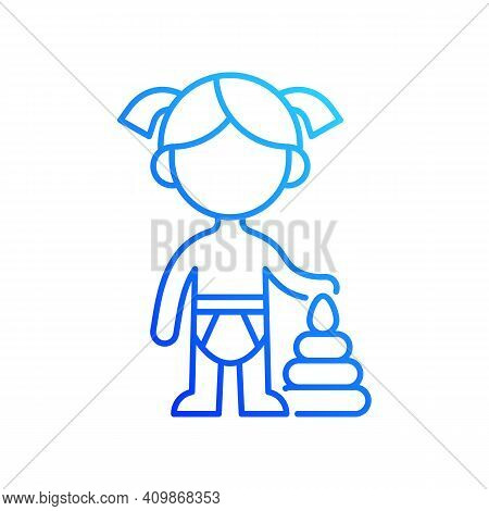 Female Toddler Gradient Linear Vector Icon. Toddlerhood. Preschool Years. 12 To 36 Months Old Child.