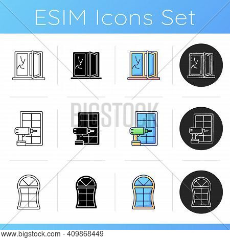 Replacement Window Opportunity Icons Set. House Damage Repairment. Custom Windows. Replacing Whole-h