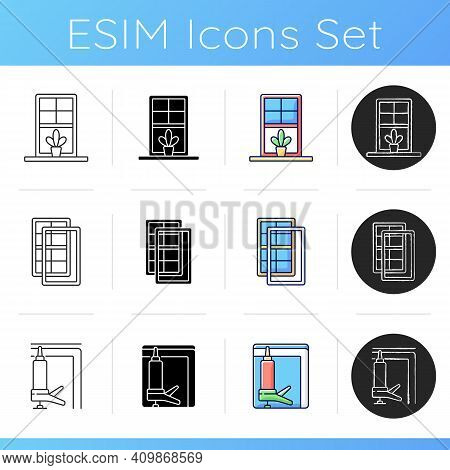 Windows, Doors Replacement Service Icons Set. Windowsills. Storm Protection. Heat Loss Reduction. Wi