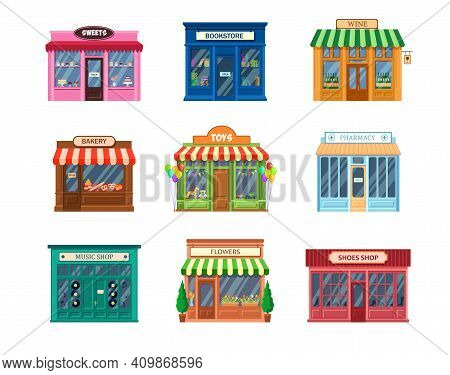 Various Storefronts Set. Traditional Shop Buildings And Entrance, Cafe Facade, Sweets, Bookstore, Ph
