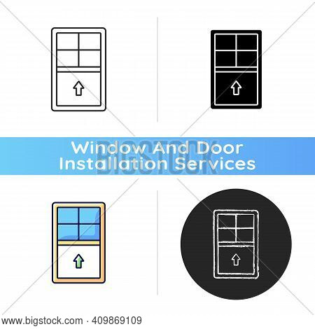 Single-hung Windows Icon. Single Movable Sash With Raise From Bottom. Natural Ventilation Control. V
