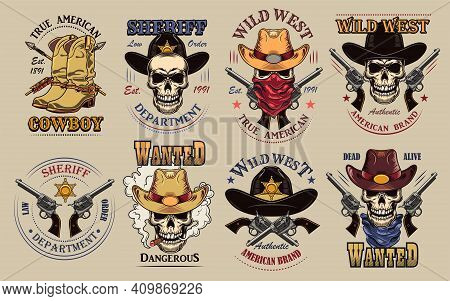 Vintage Wild West Flat Sign Set. Colorful Saloon Or Rodeo Emblems And Labels With Cowboy Skulls, Gun