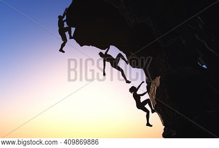 Silhouettes of people in the mountains.,3d render