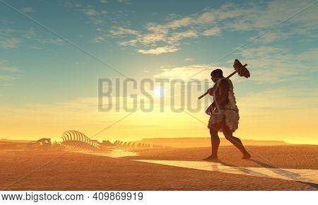 Primitive man and dinosaur skeleton..3d render