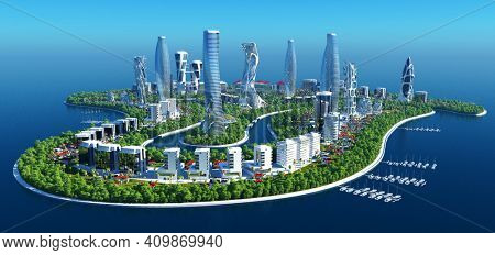 City on the water..,3d render