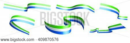 Set Of Holiday Ribbons. Flag Of Republic Of Sierra Leone Waving In Wind. Separation Into Lower And U