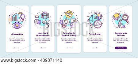Qualitative Research Techniques Onboarding Mobile App Page Screen With Concepts. Method Of Collect A