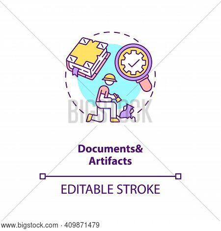 Documents And Artifacts Analysis Concept Icon. Documentary Data Data Idea Thin Line Illustration. Qu