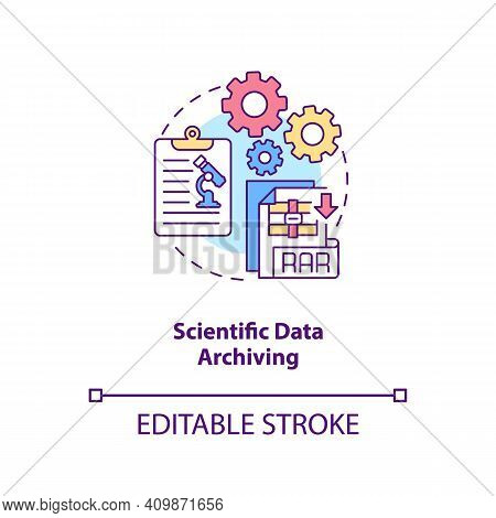 Scientific Data Archiving Concept Icon. Research Information Idea Thin Line Illustration. Testing Hy